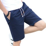 Men's Casual Knee-Length Shorts Summer Pure Color Breathable Cotton Sports Shorts