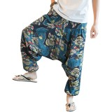 Mens Casual Baggy Harem Pants Breathable Cotton Ethnic Style Printed Loose Wide Leg Pants