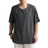 Charmpkr Mens Chinese Style Vintage Cotton O-neck Half Sleeve Loose Casual T-Shirts