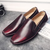 Men Casual Comfy Genuine Leather Slip On Flat Loafers Loafers