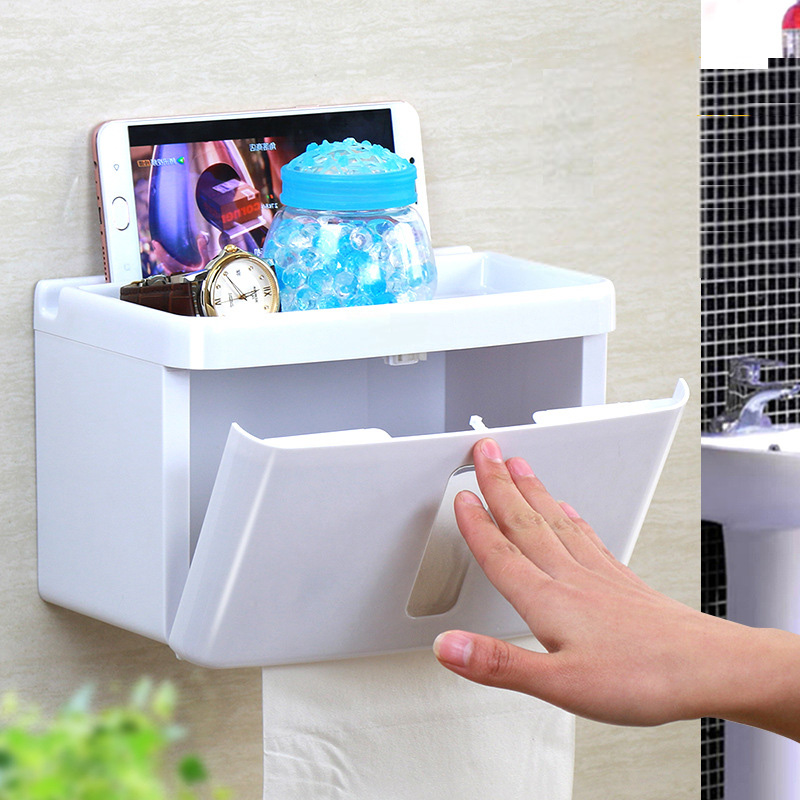 Honana BX Sucker Wall Mounted Tissue Box Bathroom Fixture Plastic Roll Paper Shelf Holder
