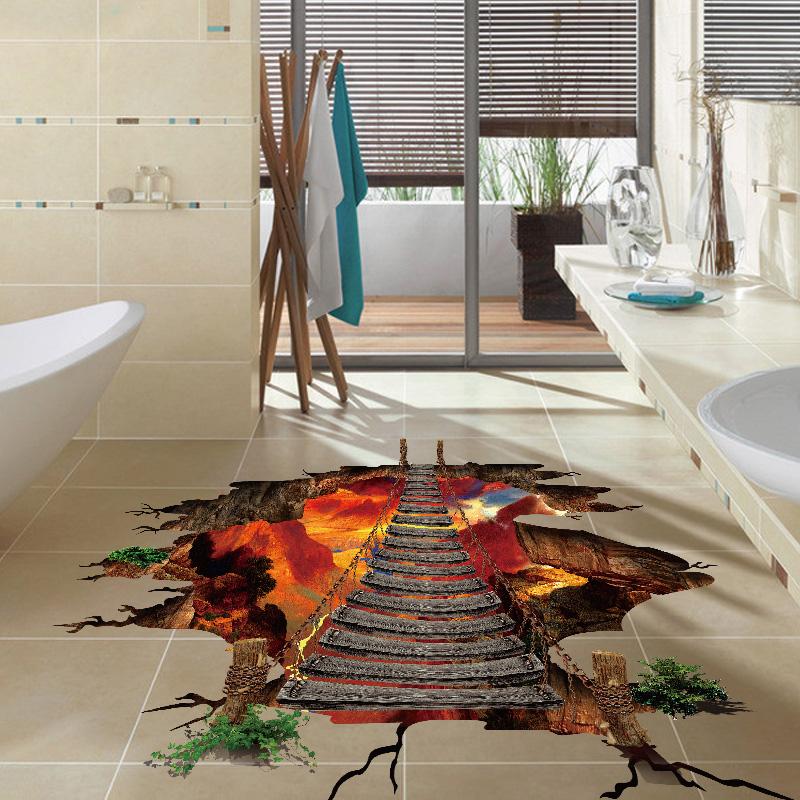 Miico Creative 3D Fire Chain Bridge Broken Wall PVC Removable Decorative Wall Floor Decor ...