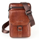 Men Genuine Leather Personalized 5.5 Inches Phone Bag Vintage Waist Bag Crossbody Bag