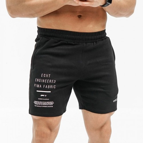 Mens Cotton Moisture Wicking Letters Printing Sports Shorts Solid Color Breathable Gym Bottoms