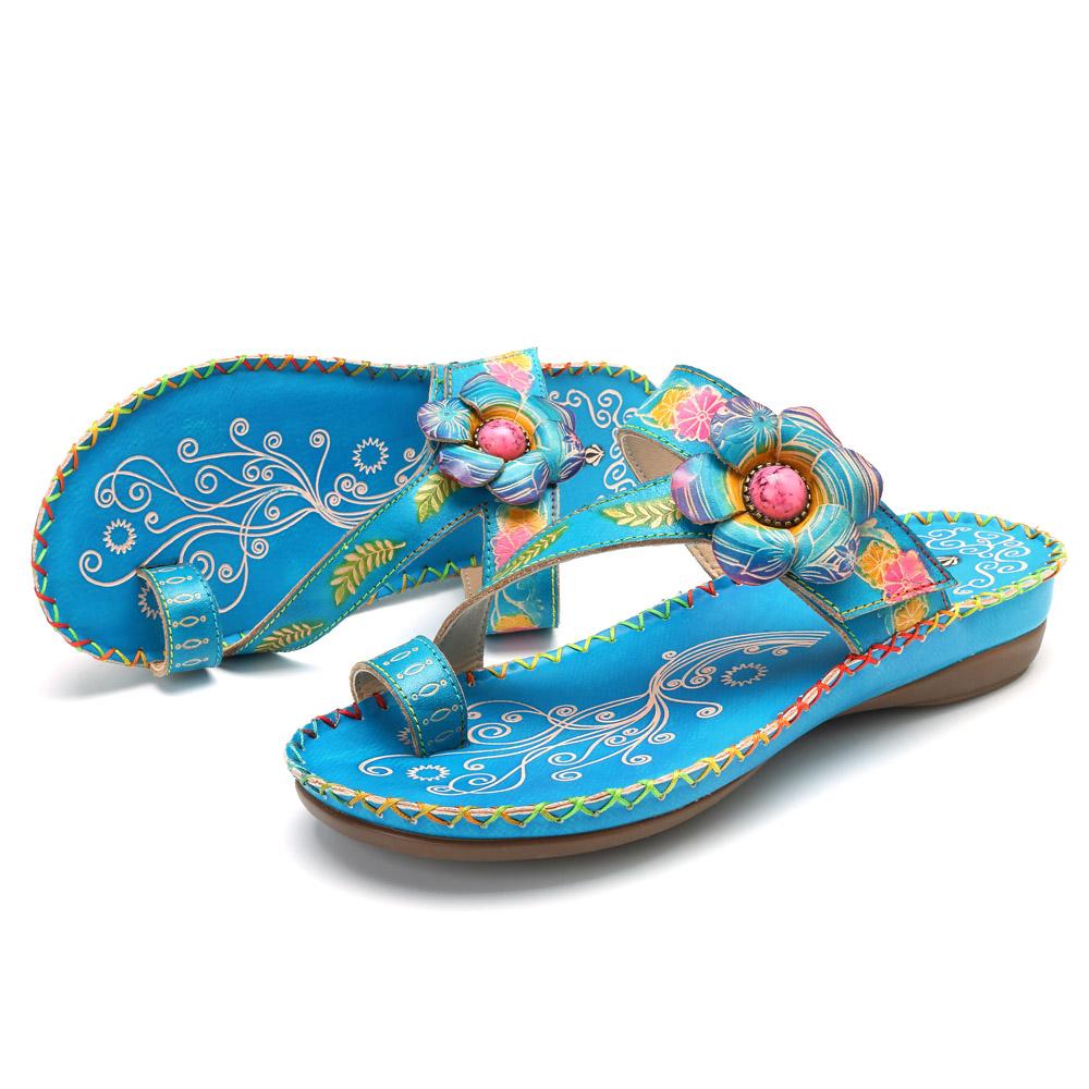 SOCOFY Flat Shoes Genuine Leather Hook Loop Casual Sandals