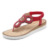 Bohemian Rhinestone Bead Flat Sandals Casual Holiday Lady Sandals