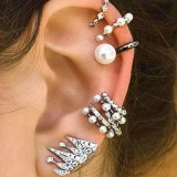 9Pcs Cartilage Earring Set for Women No Piercing Pearl Cuff Diamond Ear Stud