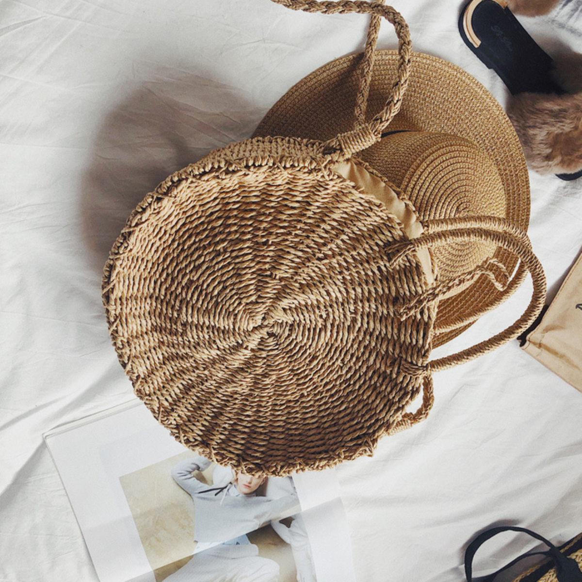 Women Hand Woven Bag Round Rattan Straw Bohemia Style Beach Circle Beach Bags