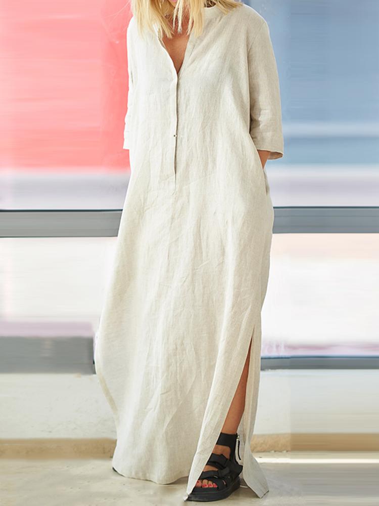 31609a29ee6 Plus Size Women Brief V-neck Side Split Cotton Maxi Dress