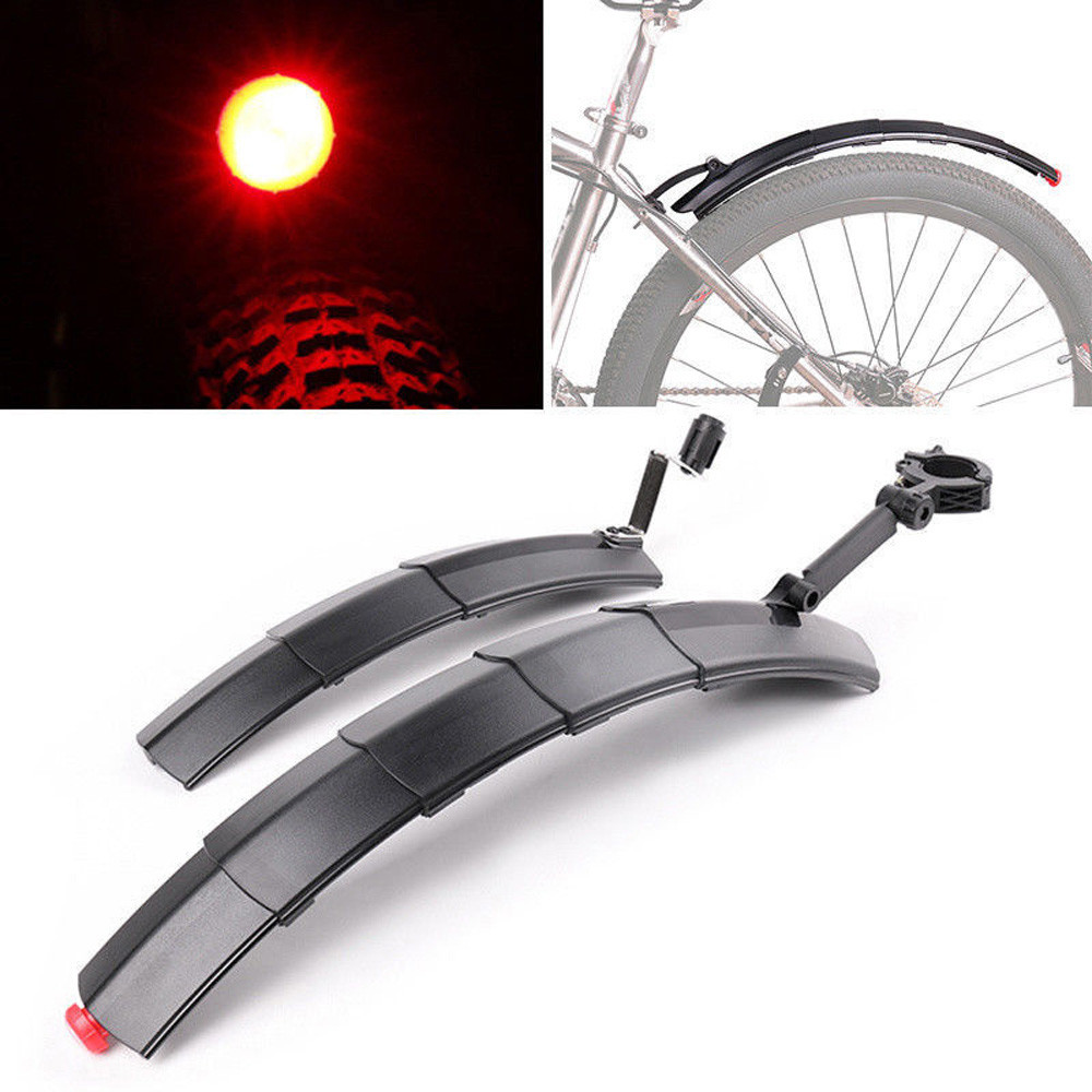 BIKIGHT Mountain Cycling Front Rear LED Mudguard Set Foldable Bicycle Bike Fender Quick Release