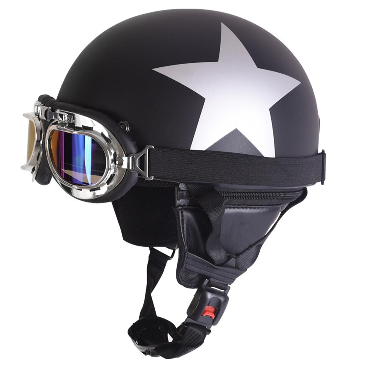 Retro Vintage Motorcycle Helmet Safety Half Helmet with ...