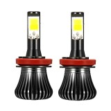 Pair 2600LM 6W COB LED Car Fog Lights H1 H3 H4 H7 H8/H11 9005/9006 Dual Color 3000K/6000K