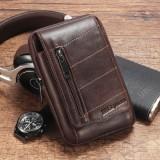 Ekphero Men Waist Bag Cowhide Minimalist Fashion Belt Bag Phone Bag Pouch