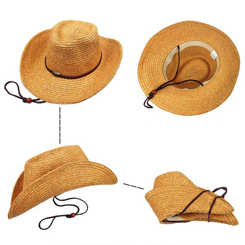 334b544a02f05 Unisex Panama Folding Straw Cowboy Hat Classic Western Beach Sun ...