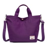 Women Canvas Tote Bag Solid Handbag Large Capacity Leisure Crossbody Bag