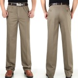 Mens Loose Thin Cotton Work Straight Leg Pants Breathable Wash-and-Wear Casual Slacks