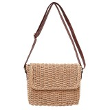 Woman Straw Rattan Crossbody Bag Vintage Handmade Shoulder Pack Handbag