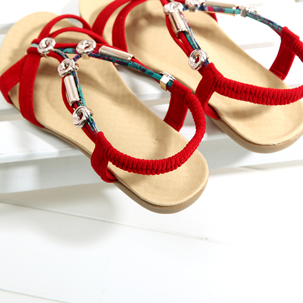 Beaded Roman Style Elastic Beach Flat Sandals