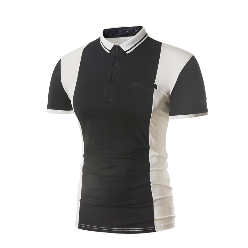 Men's Summer Hit Color Short-sleeved Golf Shirt Fashion Casual Stand Collar Tops Tees