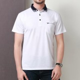 Men's Business Casual Short Sleeved Golf Shirt Summer Breathable Mercerized Cotton Lapel Tops