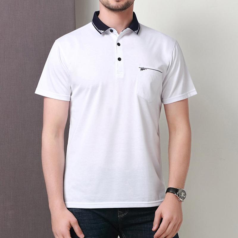 02e4a32f026 Men s Business Casual Short Sleeved Golf Shirt Summer Breathable Mercerized  Cotton Lapel Tops