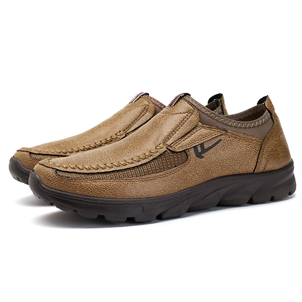 Men Casual Comfy Soft Moc Toe Slip On Leather Oxfords