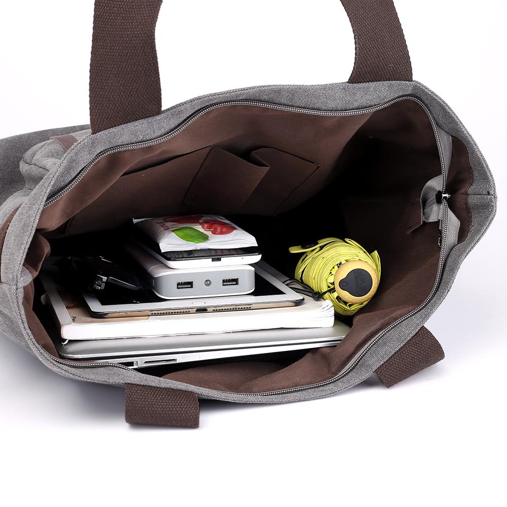 KVKY Front Pockets Canvas Handbag Vintage Shoulder Bags Capacity Shopping Bags