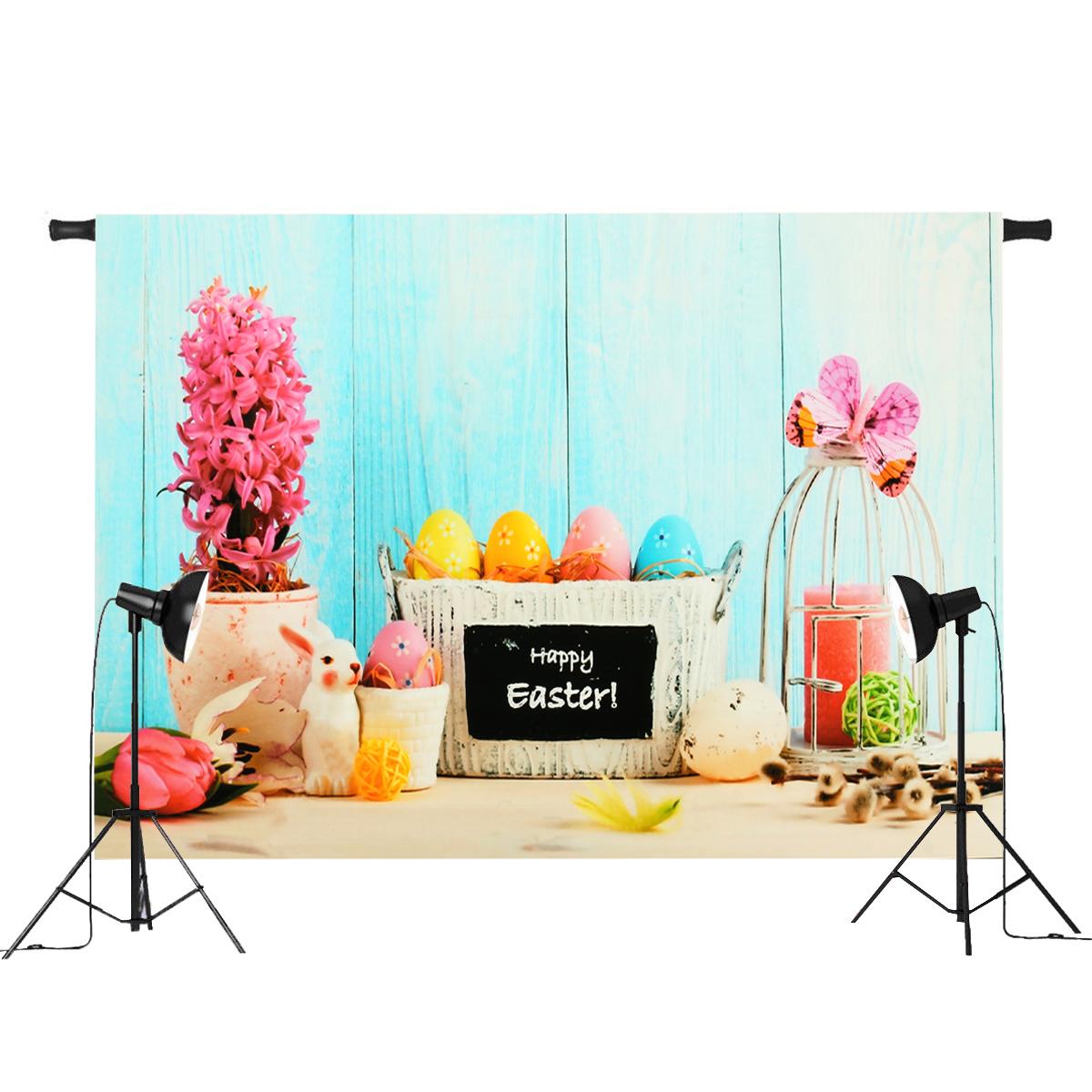 7x5ft/5x3ft Happy Easter Theme Thin Vinyl Photography Backdrop Background Studio Photo Prop