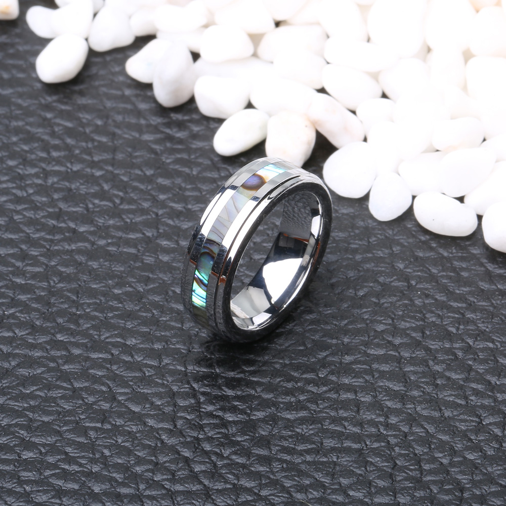 Classic 6mm Tungsten Carbide Ring Shell Tungsten Steel Colorfast Anallergic Rings for Men Women