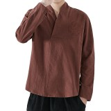 Chinese Style Embroidery V-Neck T-shirts Men's Casual Solid Color Long Sleeve Loose Tops Tees