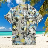 TWO-SIDED Hawaiian Style Coconut Tree Printing Loose Holiday Tropical Beach Shirts for Men