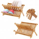 Foldable Bamboo Dish Drying Rack Plate Bowl Drainer Kitchen Storage Rack Organizer Holder 16 Grids