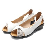 SOCOFY Summer Casual Leather Flats Fish Mouth Shoes Large Size Women Shoes