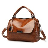 Women PU Solid Color Fashion Oil Wax Rivets Boston Handbag Shoulder Bag