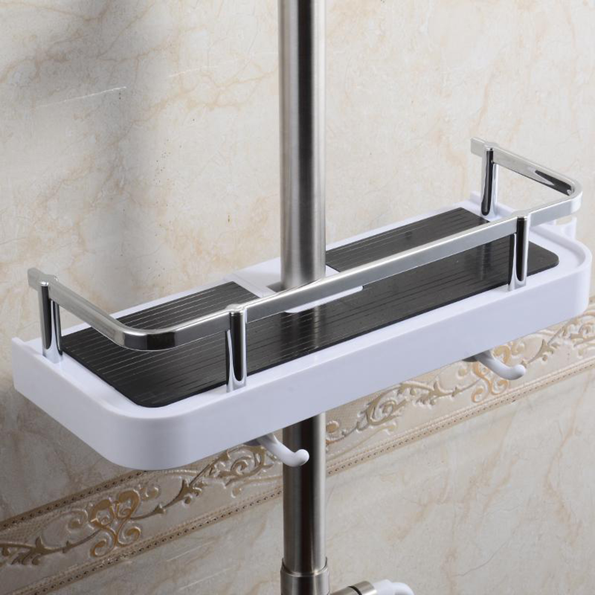 Bathroom Pole Shelf Shower Storage Caddy Rack Organiser Tray Holder Drain Shelf