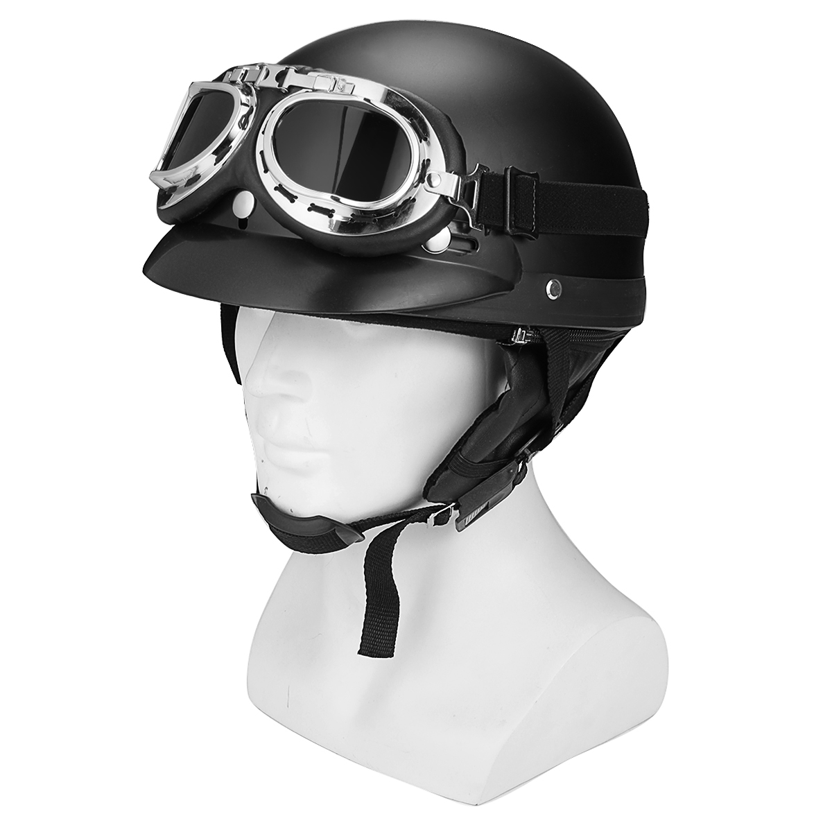 69c72106 Retro Matt Black Motorcycle Half Face Helmet Biker Scooter With Sun ...