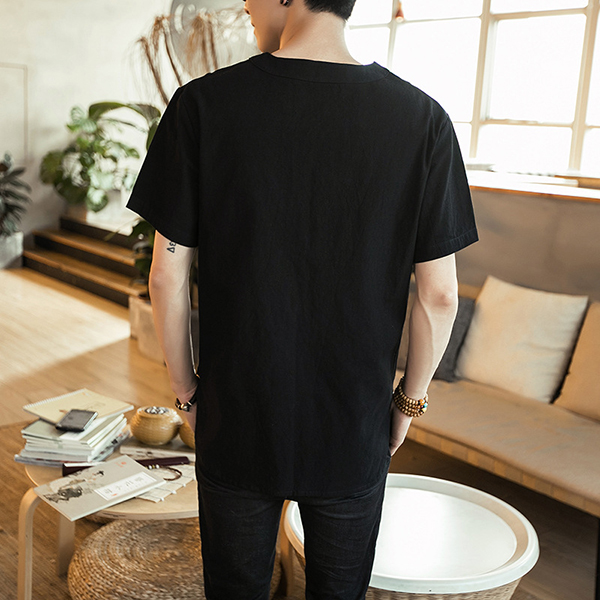 Men's Comfort Breathable Cotton Fashion V-neck T-shirts Summer Solid Color Casual Tops Tees