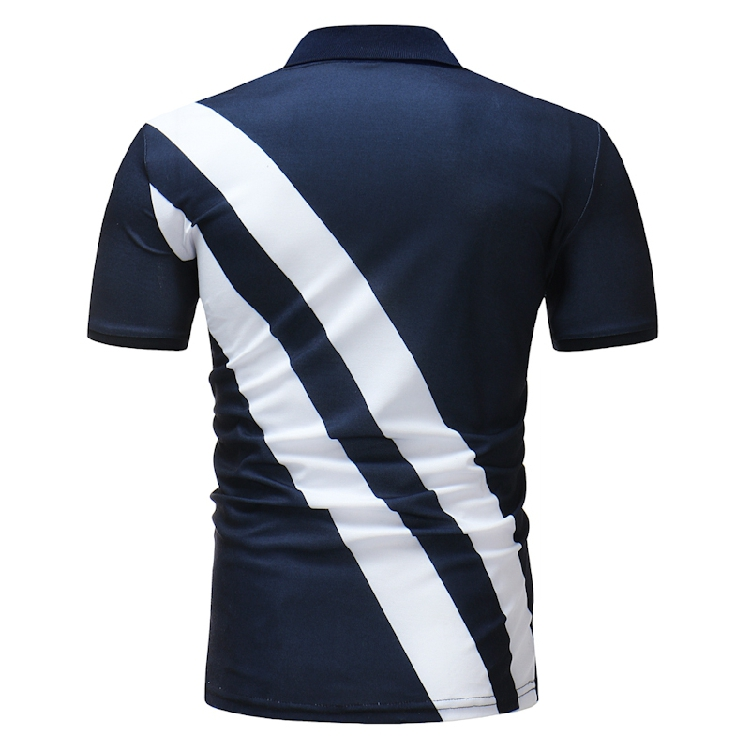 Mens Short Sleeve Casual Golf Shirt Fashion Stripe Lettering Printed Fashion Tops Tees