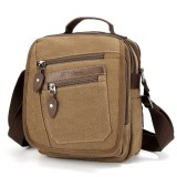 Ekphero Men Retro Genuine Leather 6 Inch Phone Bag Waist Bag Shoulder Crossbody Bag