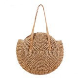 43 x 10 x 62cm Round Straw Beach Bag Woven Shoulder Bag Handbag