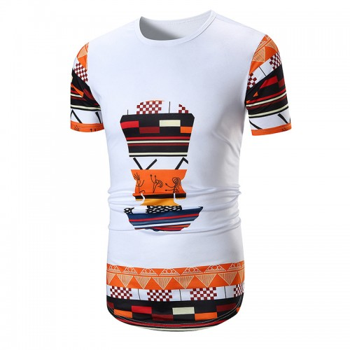 Men's Ethnic Style Printing Totem Circular Hem T-shirts Large Size Summer Casual Short Sleeve Tops T