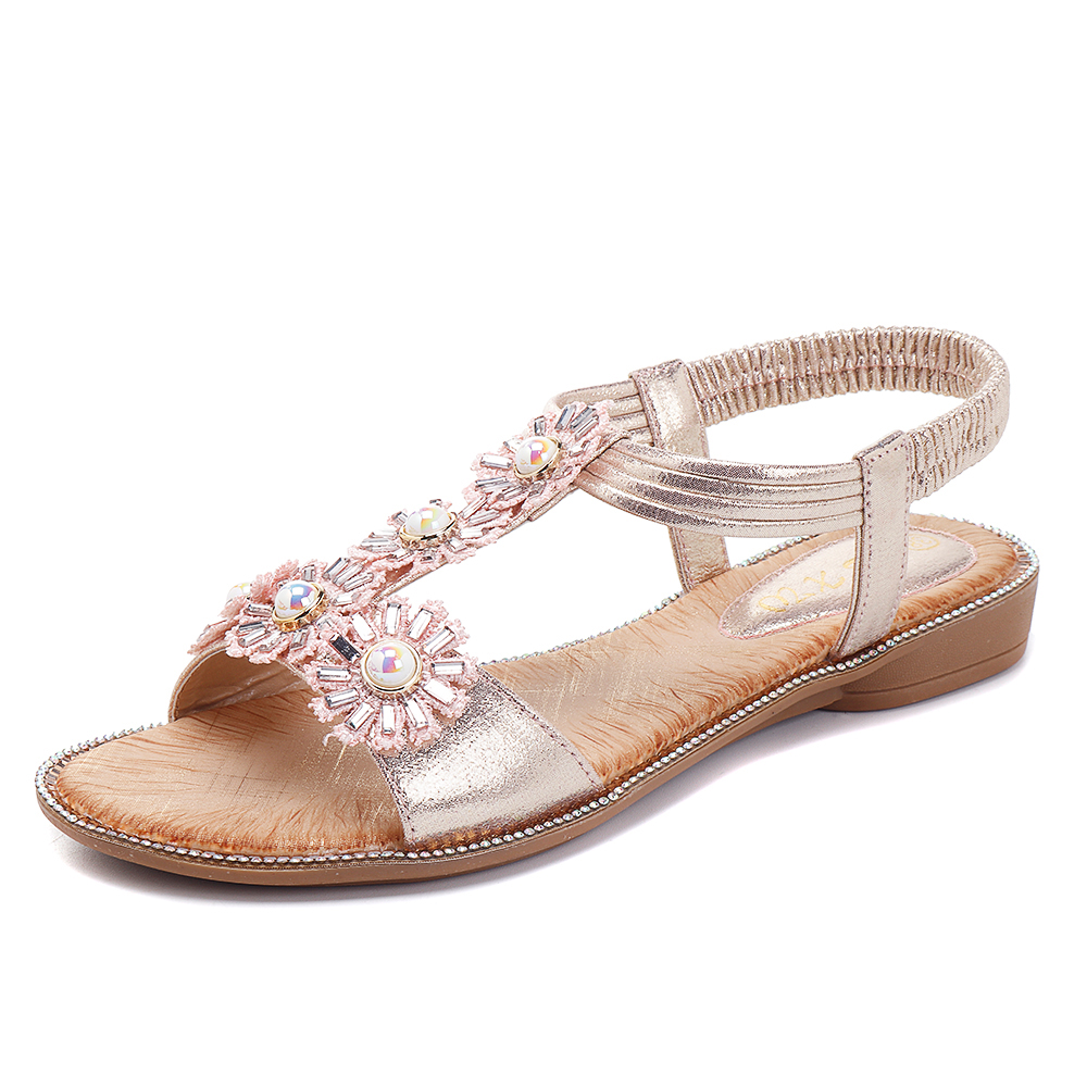 879f64b62568 Bohemian Flowers T Strap Casual Comfortable Sandals