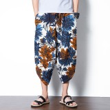 Men's Ethnic Style Printed Baggy Harem Pants Elastic Waist Cotton Loose Wide Leg Pants