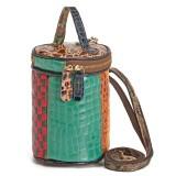 Women Genuine Leather Patchwork Bucket Bag Crossbody Bag