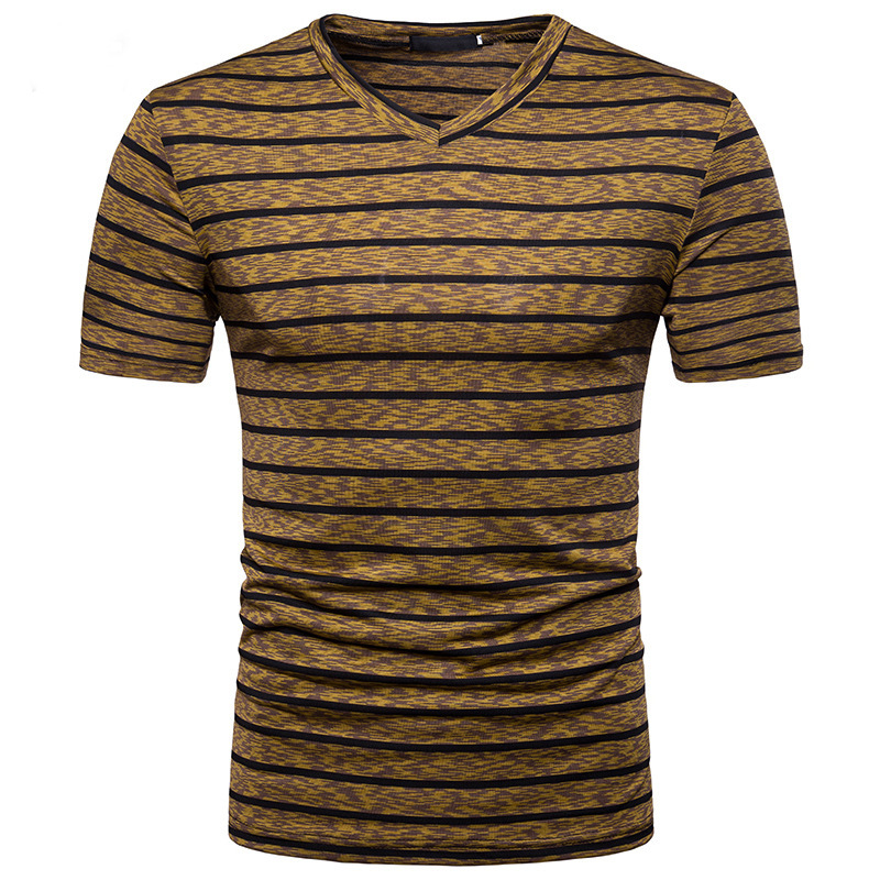 Men's Casual Stripe Colorblock V-Neck Short Sleeve T-Shirts Summer Breathable Tops Tees