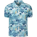Mens Hawaiian Style Coconut Tree Printing Quick Drying Beach Shirts