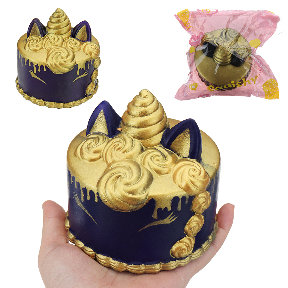 Nail Cake Blue Black Splodges Cow Print: Unicorn Cake Squishy 11*10*CM Slow Rising With Packaging