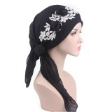 Women Cotton Muslim Turban Cap Thin Elastic Chemo Scarf Hat Flower Beanies Cap