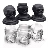 KCASA 3D Skull Ice Cube Tray Halloween Ice Mold Cocktiail Silicone Ice-cream Mold Maker Set Of 3