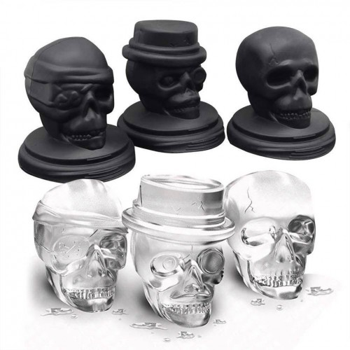 KCASA 3D Skull Ice Cube Tray Halloween Ice Mold Cocktiail Silicone Ice-cream Mold Maker Set Of 3